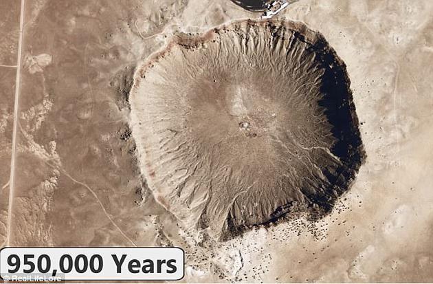 未来50万年,美国南达科塔州的恶地国家公园将被完全侵蚀;未来95万年,亚利桑那州陨石坑(图中所示)也将完全消失。