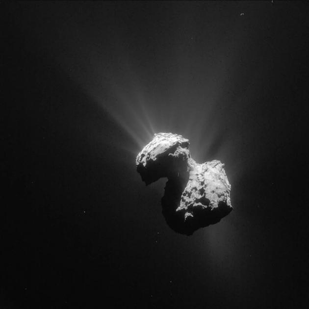 图中是罗塞塔探测器拍摄的67P彗星。