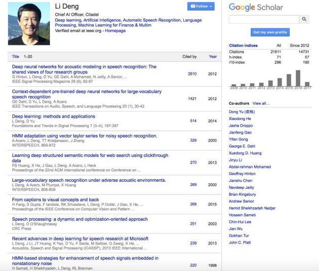 邓力的 Google Scholar 学术影响力