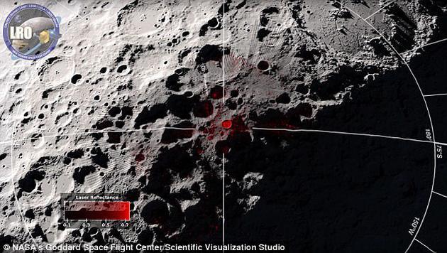 研究人员使用美国宇航局月球勘测轨道器的激光仪测量了反射激光光线,这些数据表明冰或者其它高反射物质的存在。图中呈现的是月球表面的反射率,反射率最高的区域标注为亮红色。