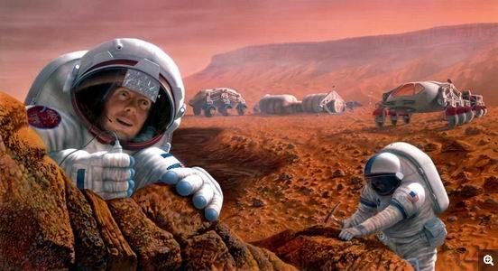 图中是艺术家描绘的来自地球的火星殖民者,目前,科学家并不知道太空婴儿如何孕育生长,缺乏这方面的知识将成为建立可持续太空基地的一个障碍。