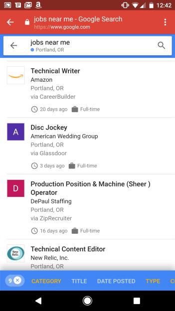 谷歌将在搜索中加入求职功能 有合适工作会弹对话框通知
