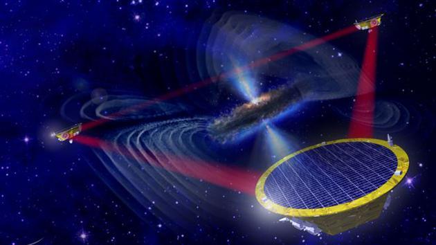 想象图:欧洲空间局近日批准了一项计划,打算在太空中布局三颗相同的卫星,相互之间间隔250万公里,开展太空激光引力波探测工作