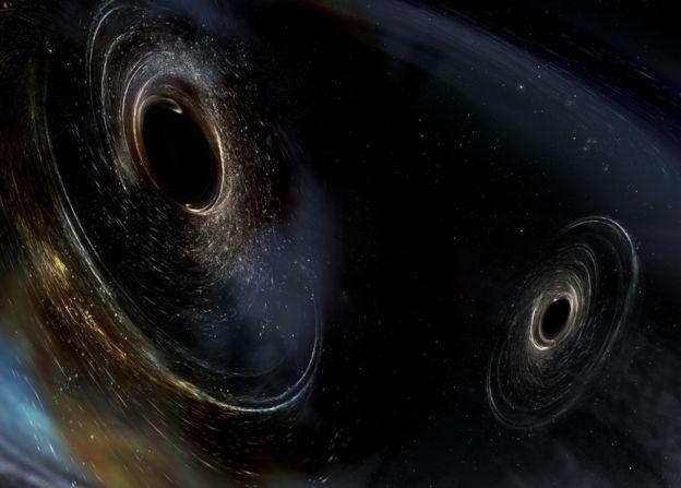 想象图:两个即将合并的黑洞。这样的剧烈事件将产生时空涟漪,也就是引力波信号,并被LISA这样的设备检测出来