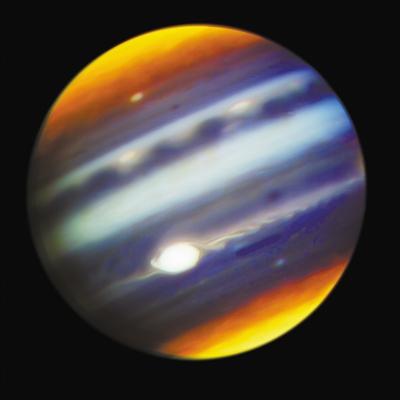 """大红斑 夏威夷双子座北部望远镜与""""朱诺""""号协同观测的结合图像"""
