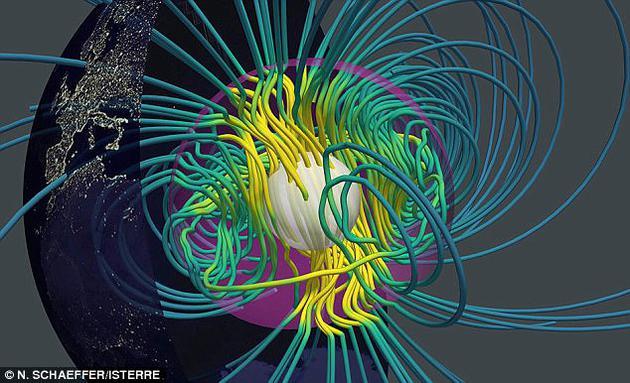 """最新高清视频图像揭晓地球""""湍流""""内核,进一步揭晓驱动磁场的运行机制。地球磁场源自地球表面之下3200公里深处。"""