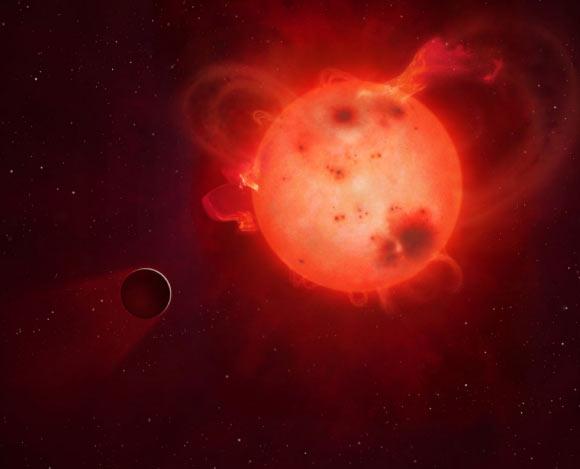 图中是艺术家描绘一颗系外行星大气层被主恒星辐射剥离。