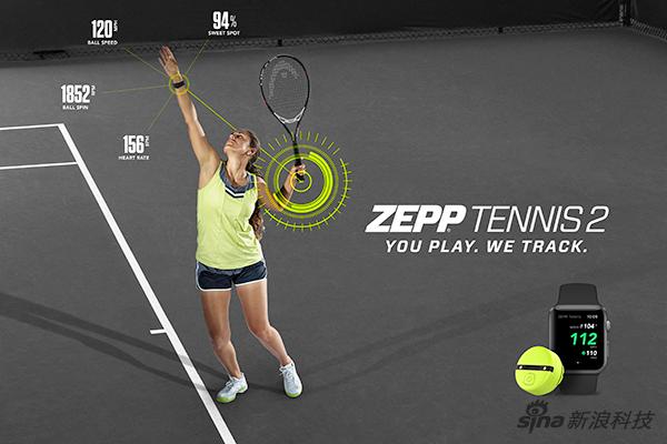Zepp Tennis的网球设备广告图显示了它监测运动的方式