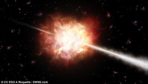 当巨恒星坍缩成为黑洞、或作为超新星爆炸时,便会产生伽马射线暴,以光速向外喷射出大量气体和物质。