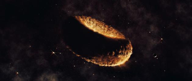 """图中是艺术家描绘的""""索内斯蒂亚(Synestia)理论"""",一颗假设天体由岩石蒸汽构成,它可能孕育月球。"""