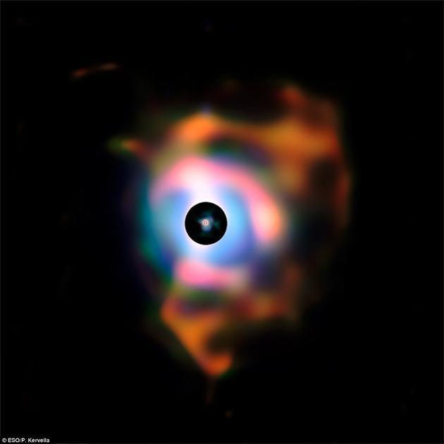 这张参宿四周围的巨大星云照片由欧洲南方天文台的甚大望远镜观测结果制作而成。它的结构就如同恒星喷出的火焰,而它实际上是由这颗红巨星喷出的物质形成的。早期观测到的喷射物在中央星盘中形成。图片中央的红圈为参宿四可见部分的大小,直径约为地球轨道半径的4.5倍。
