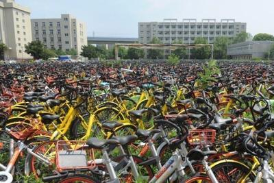 密集恐惧症慎点!实拍合肥共享单车堆满废弃校园