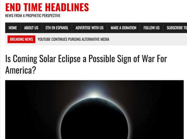 认为日食会引发美国战争的帖子。