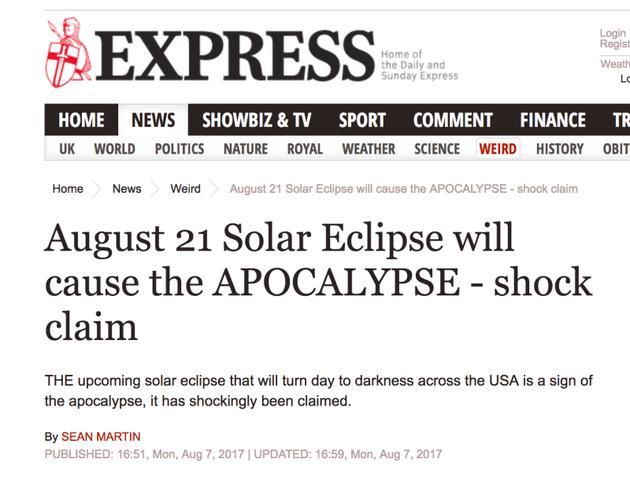 关于日食引发世界末日的帖子。