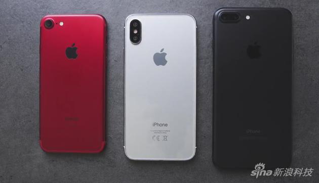 中间为iPhone 8假想图