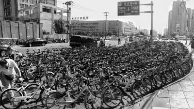 昨日,数百辆共享单车密密麻麻停放在宋家庄地铁站A口处。 实习记者 武亦彬摄
