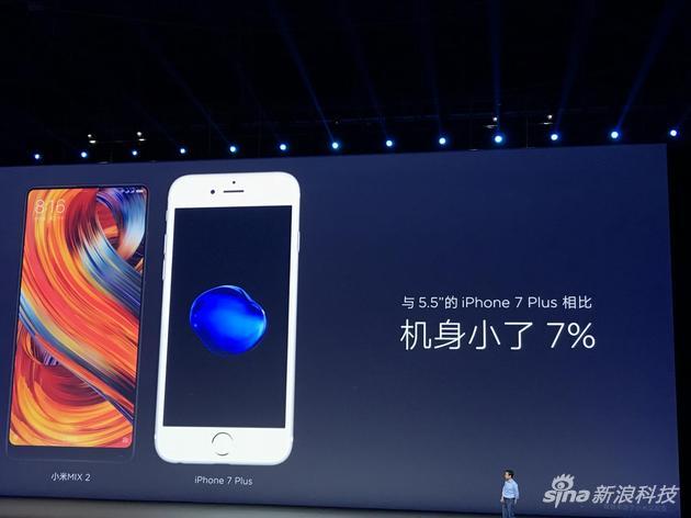 小米MIX2与iPhone 7Plus尺寸对比