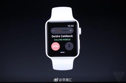 现场演示用Apple Watch打电话