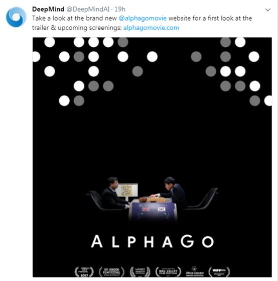 DeepMind在Twitter上发布《AlphaGo》预告片