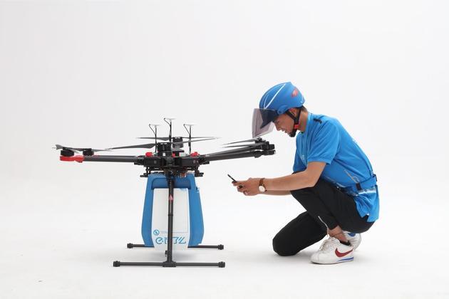 饿了么无人机首次亮相 最高飞行速度65千米/时