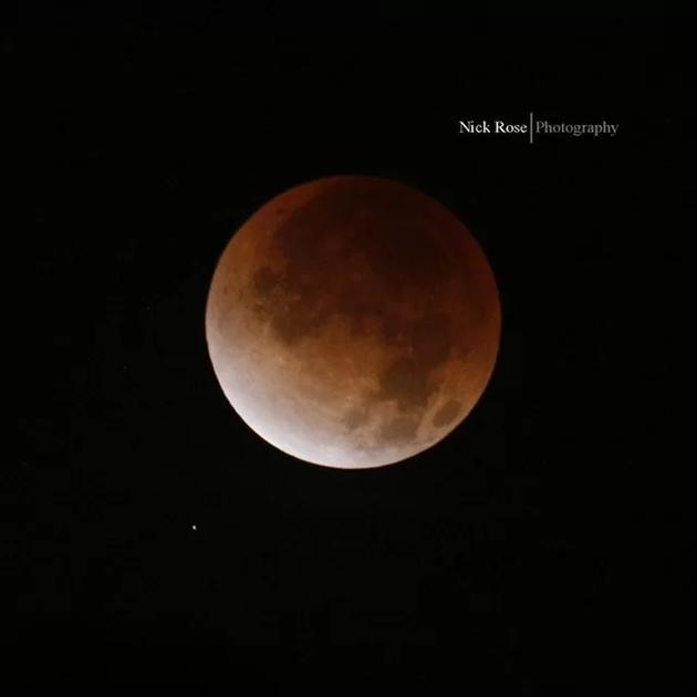 天空观测者尼克?罗斯(Nick Rose)在美国加州密尔布瑞拍摄的月全食景象。