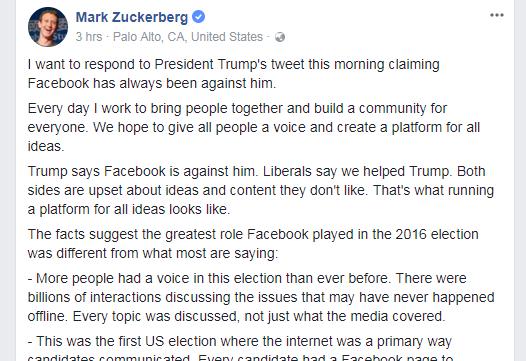 扎克伯格在自己的Facebook主页上发文