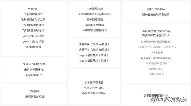 目前小米AI音箱已经接入的米家产品
