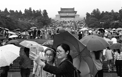 游客在雨中游览中山陵。刘建华 摄 视觉江苏网供图