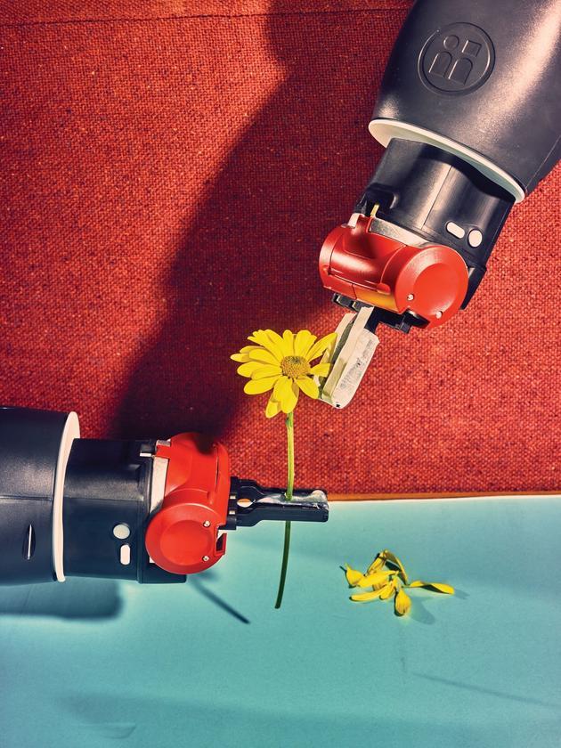 """在布朗大学的机器人研究实验室Humans to Robots,机器人""""温妮""""(Winnie)在学习如何操纵外形不规则又小巧易坏的物体"""