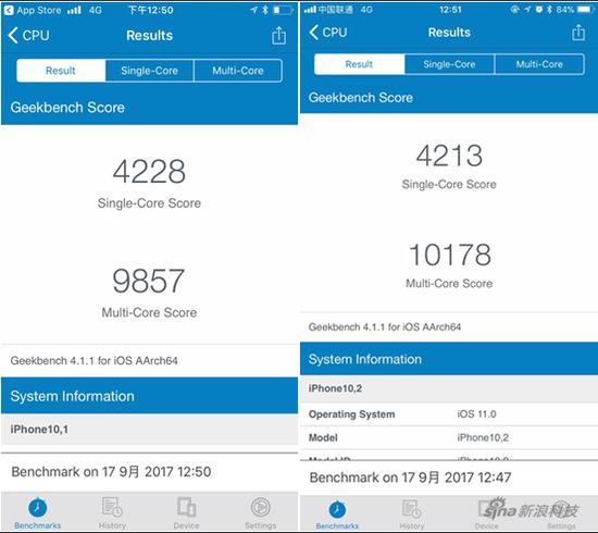 iPhone 8和8 Plus跑分对比
