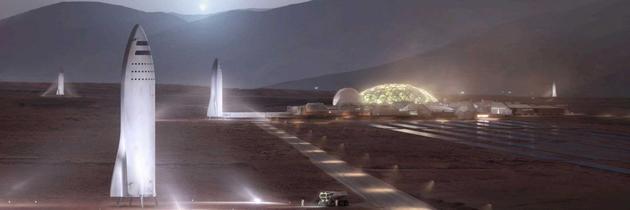如果BFR火箭实现火星旅行,它将包括建造一个推进燃料生产基地,这是火星殖民计划的一部分。该计划将从大气层中吸收二氧化碳,并利用太阳能将其转变为冷沉淀四氧化碳(CO4)燃料。