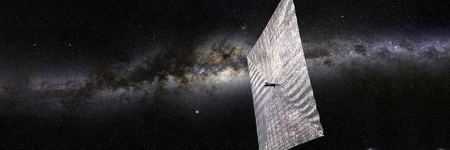 """2018年初科学家将测试""""光帆2号"""",该太空装置通过利用太阳光子在太空中飞行,它没有燃料罐,也不需要推进器。"""
