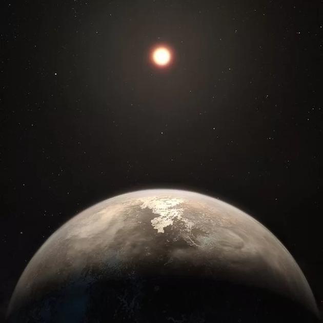 图中是艺术家描绘的Ross 128b,这颗行星温度适宜,它环绕一颗红矮星运行,它与地球距离11光年。