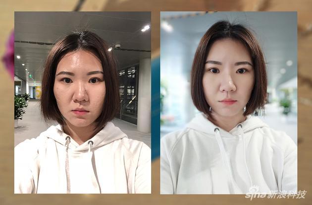 左為iPhone拍攝,右為美圖 V6所拍(三級美顔)