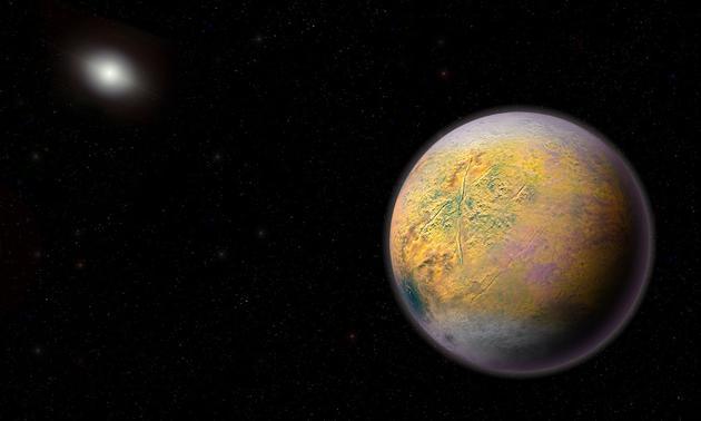 图中是艺术家描绘的行星X,它可能潜伏在太阳系远端,是太阳系神秘未知的第九行星。