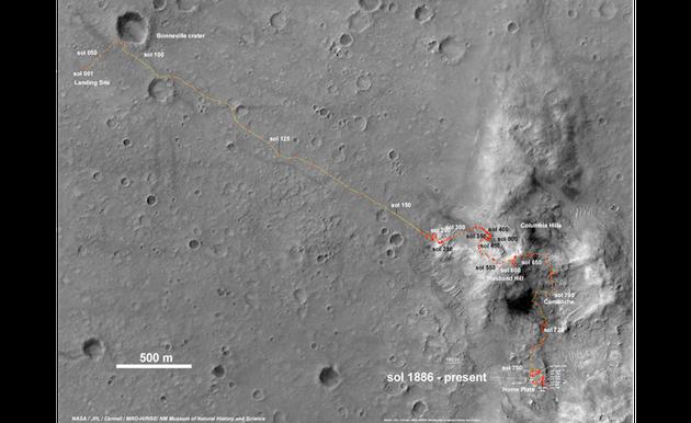 在2009年5月1日被困在沙裏之前,勇氣號火星車已經運行了7.7公里,之後它在原地又工作了一年