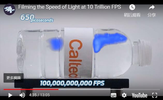 在YouTube网站发布的一?#38382;?#39057;中,加州理工学院研究人员展示了他们的相机性能:拍摄一束激光以每秒大约1000亿帧的速度穿过一瓶水(相比之下,电影制作是以每秒24帧的速度拍摄)