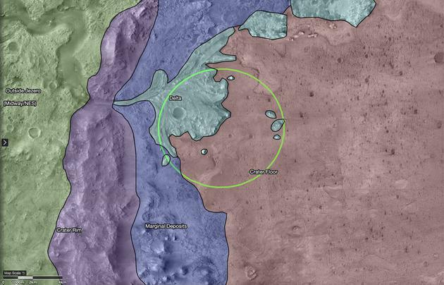 """美国国家航空航天局的""""毅力号""""火星探测器将登陆火星的杰泽罗陨石坑。数十亿年前,这个陨石刚刚形成,里面充满了水——这个""""湖""""和地球上北美的太浩湖差不多大。随着火星气候的变化,杰泽罗湖最终干涸。"""