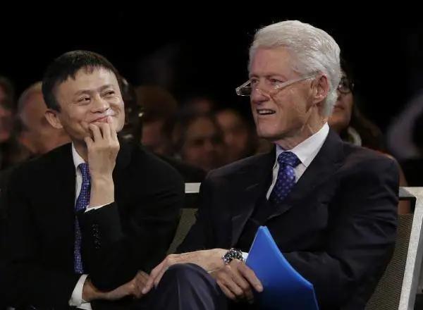 马云与克林顿谈笑风生