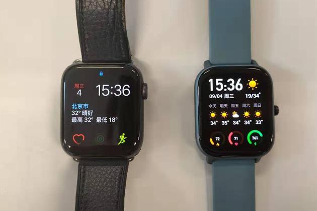 左为Apple Watch右为Amazfit GTS
