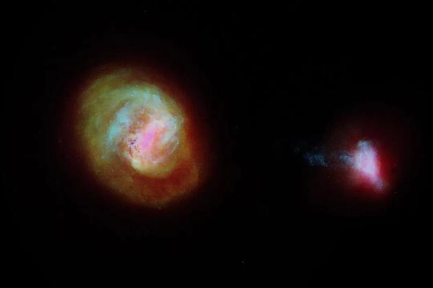 银河系最重要的两个伴生星系,大麦哲伦云(LMC,左侧)和小麦哲伦云(SMC,右侧),根据欧洲航天局的盖亚空间望远镜数据绘制。这两个星系由一个 75,000 光年长的恒星桥连接起来,其中一些恒星从 SMC 的左边延伸开来。图片来源:ESA/GAIA/DPAC
