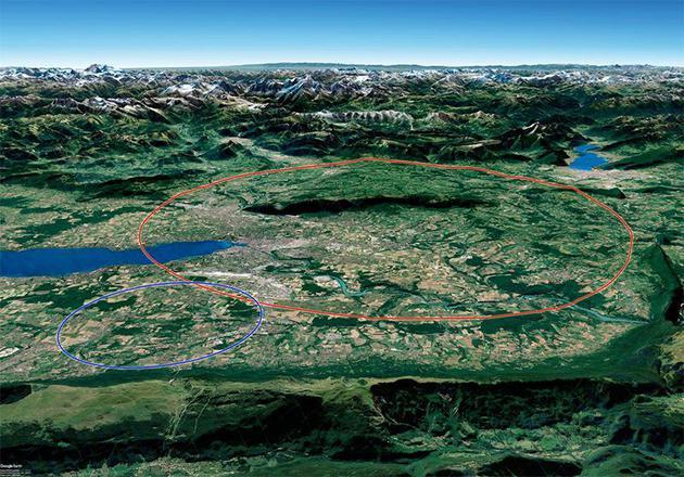 未来环形对撞机项目的主要愿景包括在现有LHC隧道(蓝色)旁边挖掘一条100公里长的隧道(红色)