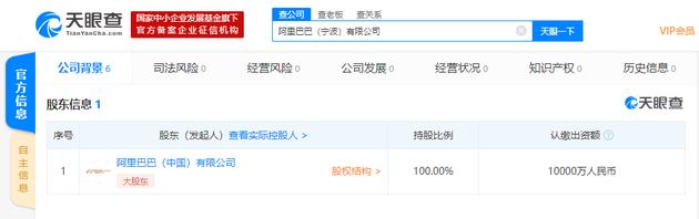 阿里巴巴(宁波)有限公司成立 注册资本1亿人民币