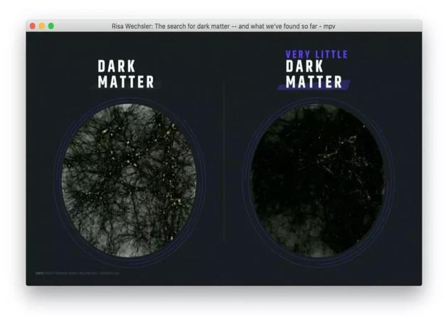 图4:宇宙中存在(左)和几乎没有暗物质(右)时,计算宇宙学家们预言的宇宙中的质量分布,亮点代表高密度区域,即星系和星系团形成的区域。    图片来源:https://www.ted.com/talks/risa_wechsler_the_search_for_dark_matter_and_what_we_ve_found_so_far?language=en