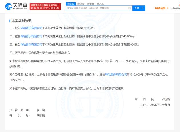 咪咕音乐成被执行人 此前被判赔偿中国音著协4.8万元