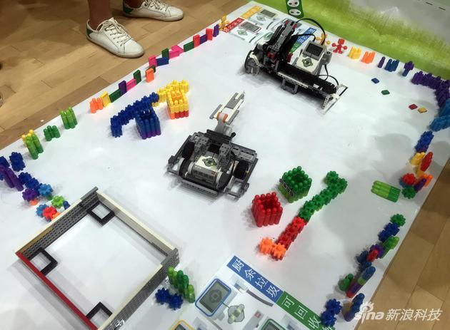 右上角機器人負責分類,下面機器人負責搬運