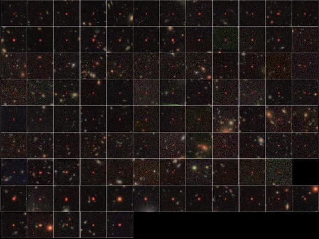 目前斯巴鲁望远镜现已勘测发现100个类星体,前七排是新发现的83颗类星体,底部两排之前发现的17颗类星体。