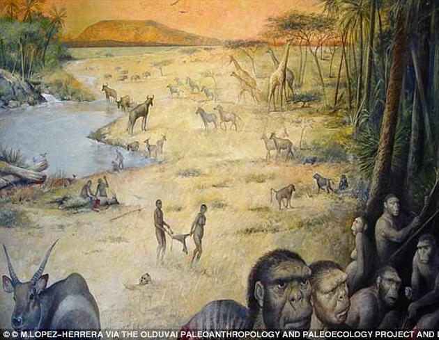 180万年前坦桑尼亚的奥杜瓦伊峡谷(艺术想象图),当时的人类曾以白蚁为主要的食物来源。