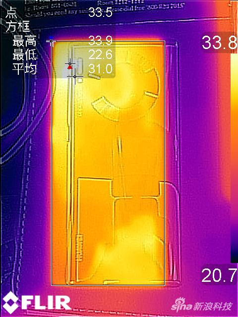 平均温度31度,高温出现在摄像头附近为33度