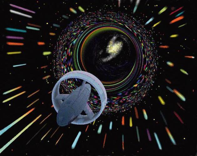 宇宙飞船穿过虫洞到达遥远的星系(想象图)